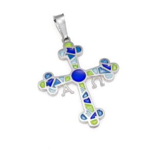 Colgante cruz de Asturias azul grande