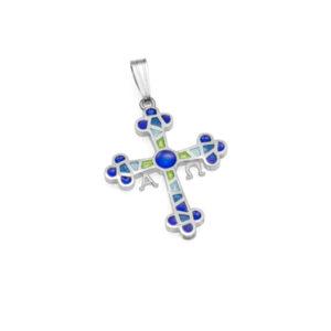 Colgante cruz de Asturias azul pequeña