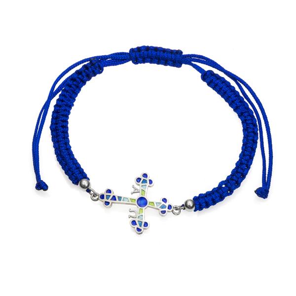 Pulsera cruz de Asturias azul